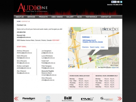 Audio One - Contact Page