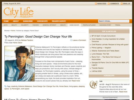 Web design Toronto — City Life Magazine website.