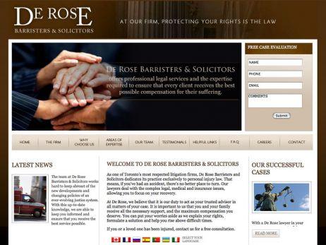 Web design Toronto — De Rose Barristers & Solicitors website.