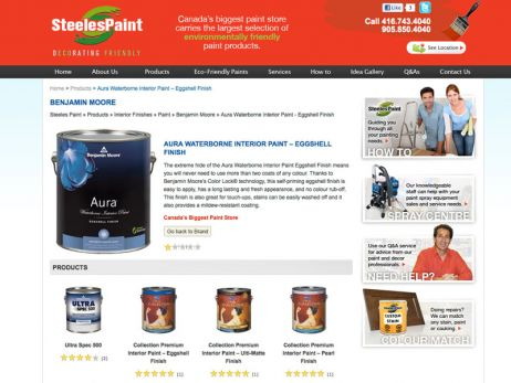 Web design & development for Steeles Paint Product Page