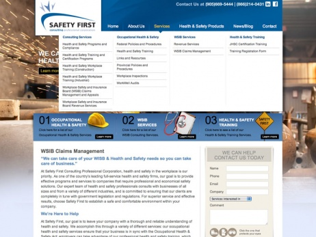 Safety First Consulting Services  - Drop Down Menu