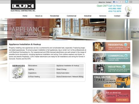 Web design & development for LUX Electrical Contracting Inc. - Services Page
