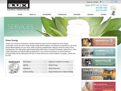 Web design & development for LUX Electrical Contracting Inc. - Eco Friendly Page