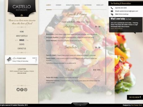 menu castello