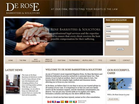 Web design Toronto — De Rose Barristers & Solicitors website.
