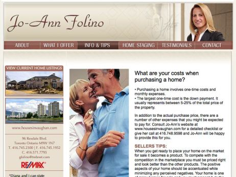 Web design Toronto —  Jo-Ann Folino website