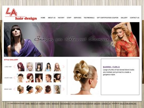 Web design Toronto — L.A. Hair Design website.