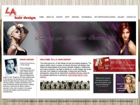 Web design Vaughan — L.A. Hair Design website.