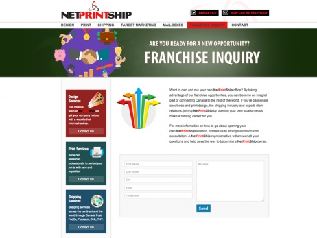 Netprintship Website Franchise Inquiry Page