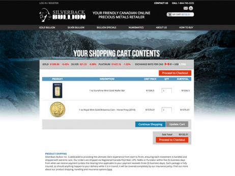 Silverback Bullion Shoppin Cart Page