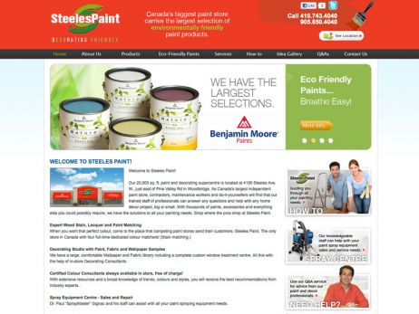 Web design & development for Steeles Paint Home Page