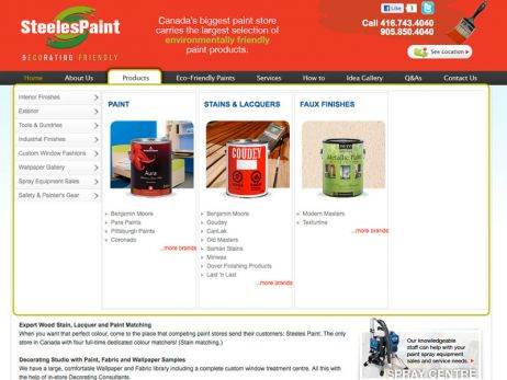 Web design & development for Steeles Paint Product Menu