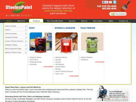 Web design & development for Steeles Paint Product Menu