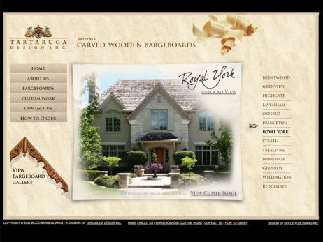 Web design Toronto — Tartaruga Designs\' Carved Wooden Bargeboards website.