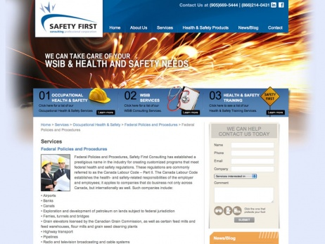 Safety First Consulting Services  - Service Page