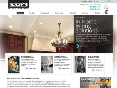 Web design & development for LUX Electrical Contracting Inc. - Home Page