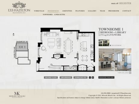 Web design & development for 133 Hazelton Residences Floor Plans