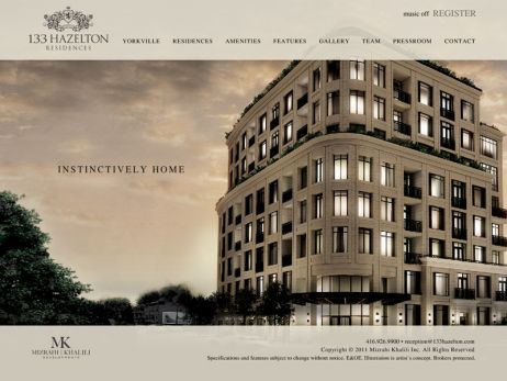 Web design & development for 133 Hazelton Residences Home Page