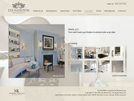 Web design & development for 133 Hazelton Residences Interior Features
