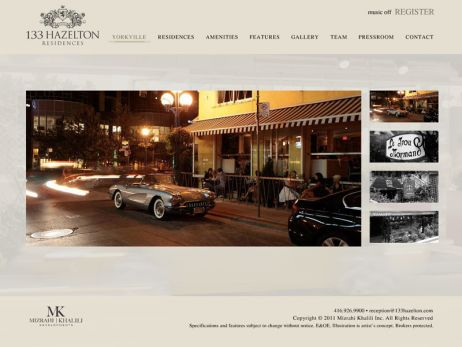 Web design & development for 133 Hazelton Residences Yorkville Gallery
