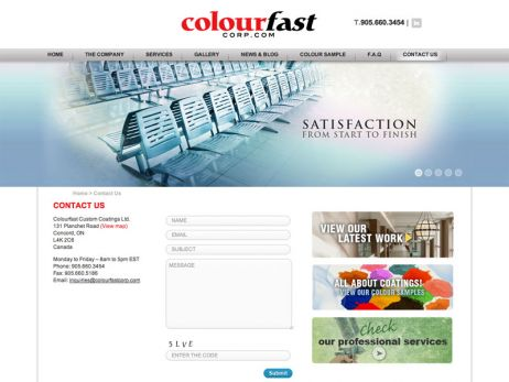 Colourfast Corporate contact page