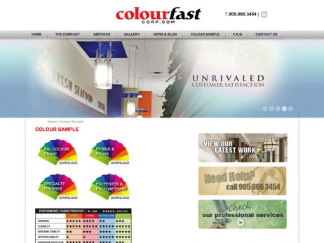 Colourfast Corporate paint sample page