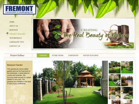 Web design Toronto — Fremont Construction & Landscaping Ltd. website.