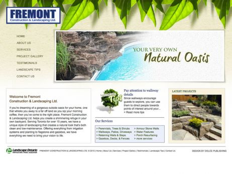 Web design Vaughan — Fremont Construction & Landscaping Ltd. website.