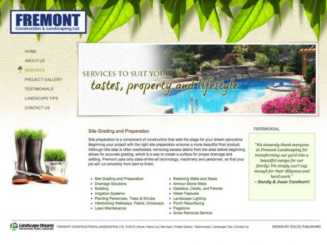 Web design  Mississauga — Fremont Construction & Landscaping Ltd. website.